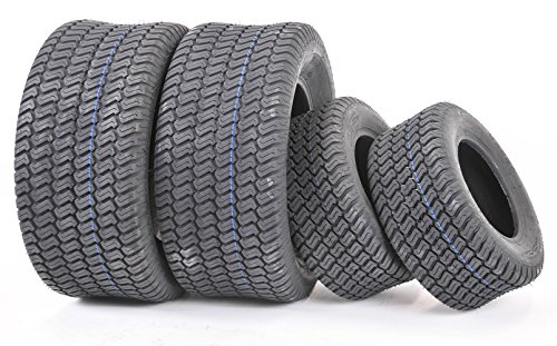 Wanda Set of 4 New Lawn Mower Turf Tires 15×6-6 Front & 20×10-8 Rear/4PR -13016/13040