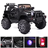 Prettyshop4246 Have a Fun Ride for Kid with Jeep Car Switch Media Player SD Card MP3 Remote Control Seat with Safety Belt Double Door Acceleration Suitable Age 3-5 Years Old