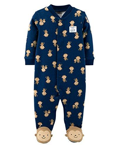 Monkey Footed Pajamas (Carters Preemie Baby Boy Pajamas Sleepers Blue White Grey Assorted Colors (Preemie 6 lbs 17 Length, Navy Monkey))