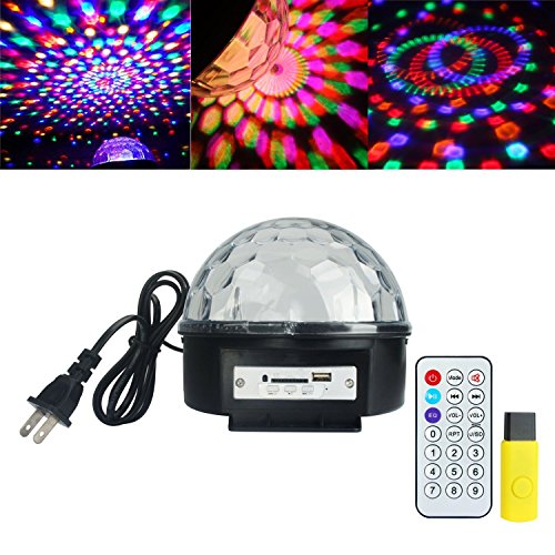 Party lights, ALED LIGHT? MP3 Crystal Magic Ball 6 color Rotating Strobe Disco Stage Christmas LED RGB Ball Light with Remote control for Party Wedding Show Club Pub