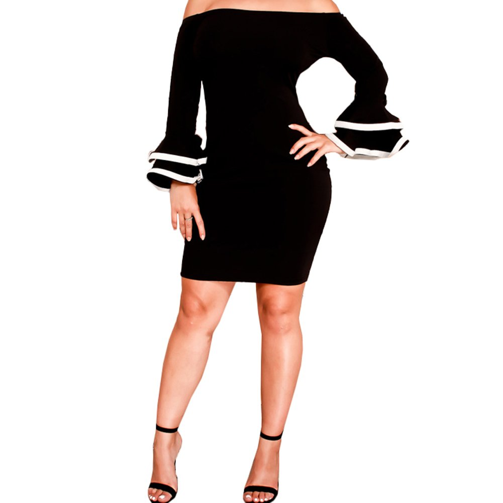 Bodycon4U Women's Sexy Off The Shoulder Flare Bell Sleeve Bodycon Club Party Mini Dress
