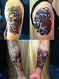 DaLin 4 Sheets Temporary Tattoos, Beauty, Monster, Koi Fish