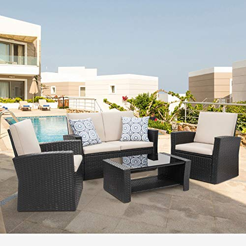 Shintenchi 4 Piece Outdoor Patio Furniture Sets, Wicker Rattan Sectional Sofa Couch with Glass C ...
