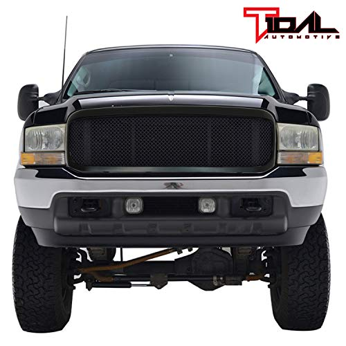Tidal Front Hood Grille Black Stainless Mesh with ABS Shell Fit 99-04 Ford F250/F350