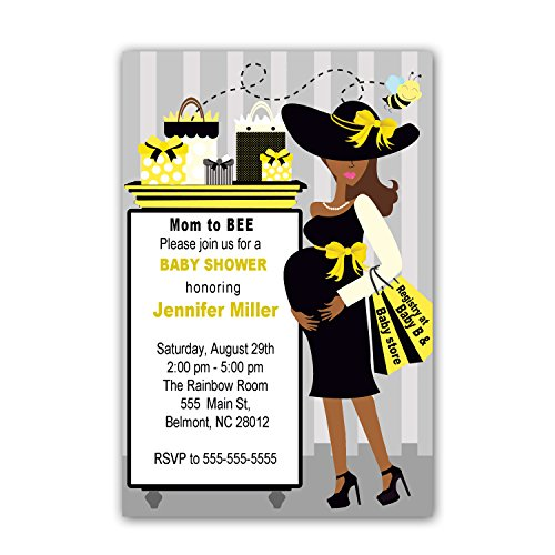 30 Invitations Gold Grey Black Mum To Bee Design Baby Shower Personalized Cards Photo Paper