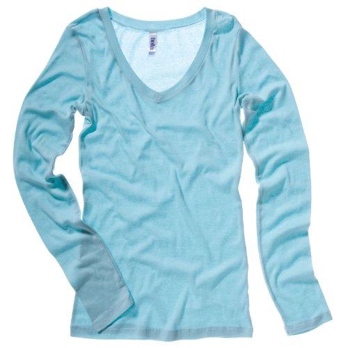 Bella Leinwand Damen Sheer Rib Long Sleeve V Neck T-Shirt Seafoam Blau XL