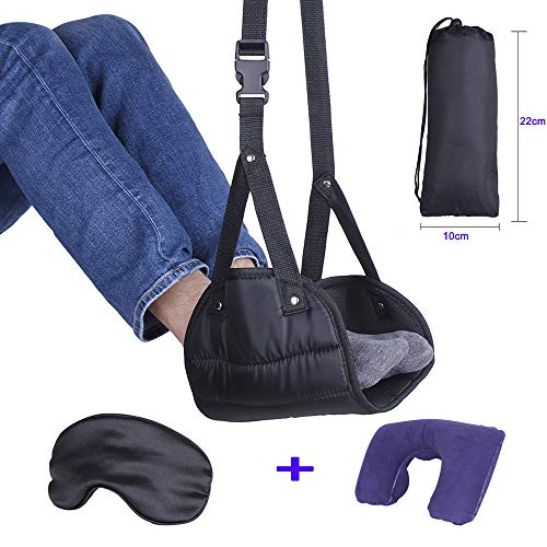 - AUBBC Foot Hammock Adjustable Airplane Footrest Hammock with Inflatable Travel Pillow and Sleep Mask for Travelling,3 in 1 Portable Traveling Essentials Kit - Provide Relaxation and Comfort for Flight