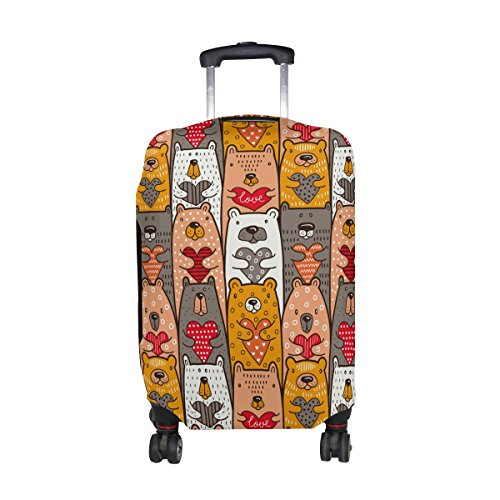 Cute Cartoon Bear Pattern Print Travel Luggage Protector Baggage Suitcase Cover Fits 29-32 Inch Luggage by super3Dprinted
