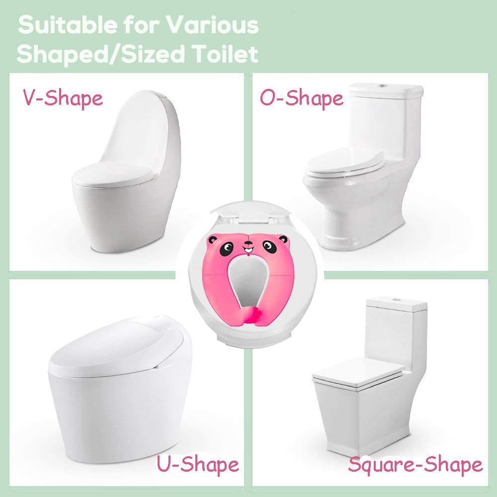 Pejoye Foldable Potty Toilet Training Seat Portable Travel Toddler Toilet Seat PP Material with 4 Anti Slip Silicon Pads and 1 Carry Bag Prevent Germs Spread