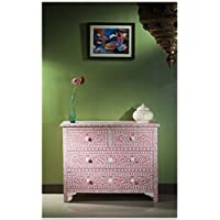 Floral Bone Inlay Chest of Drawer (Pink)