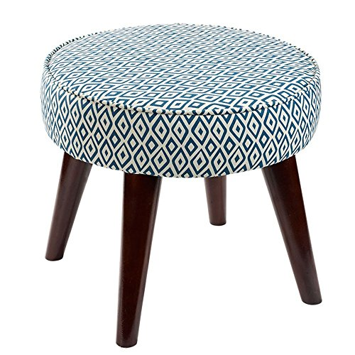 LQQGXL European chair Shoe bench, fabric sofa stool solid wood foot stool small round stool seat (Color : ()