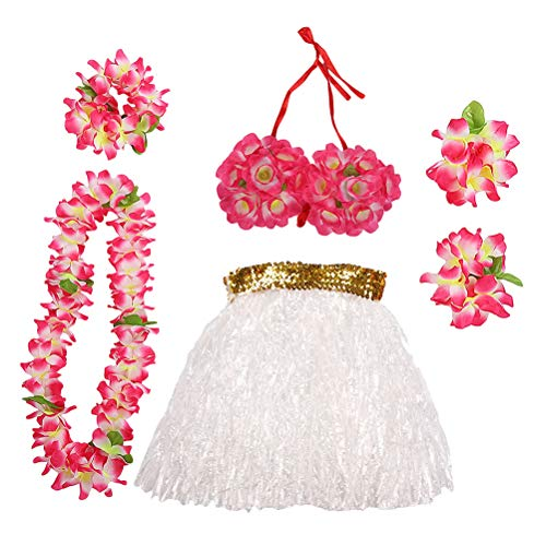 LUOEM Hawaii Tropical Hula Grass Dance Skirt Flower Bracelets Head Loop Neck Wreath Set Hawaiian Party Costume and Luau Outfit 40cm ()