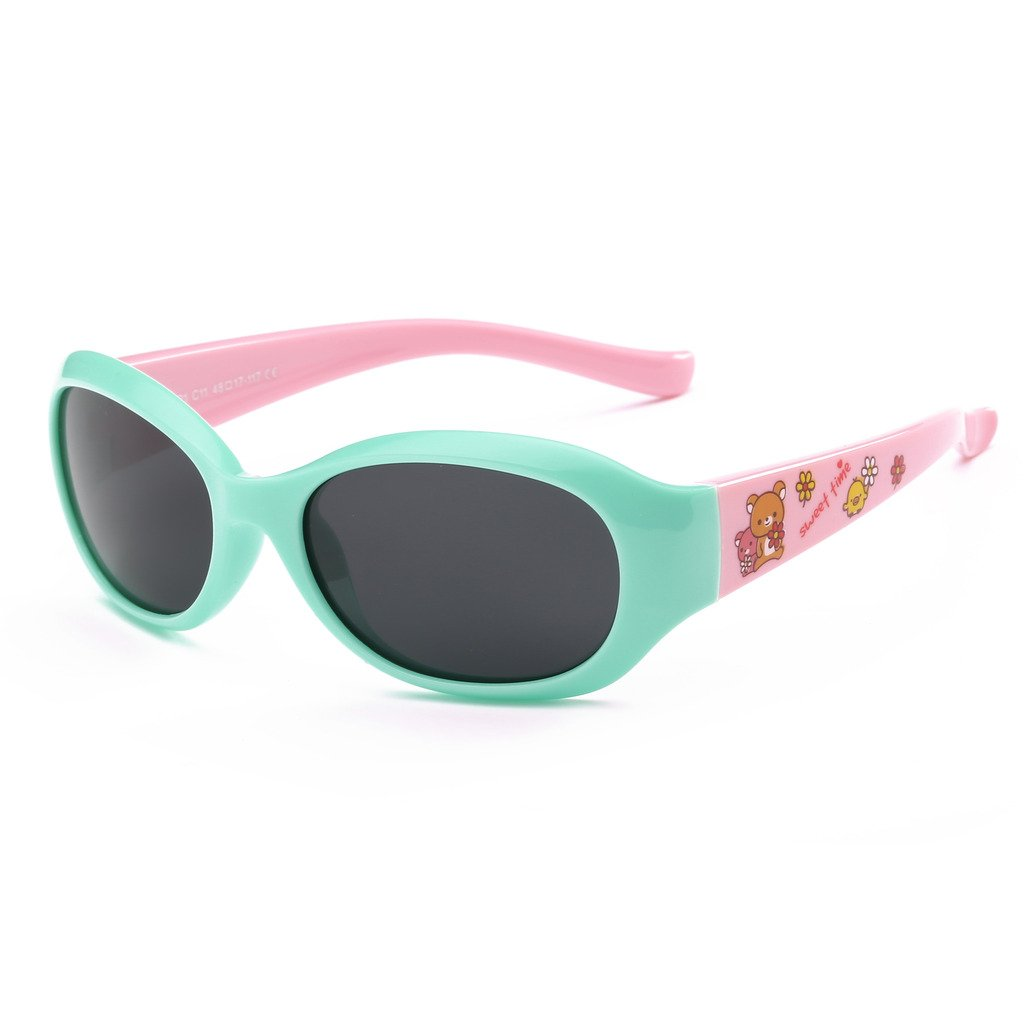 Simvey Kids Rubber Flexible Polarized Sunglasses for Baby Boys Girls 3-10 Age UV400