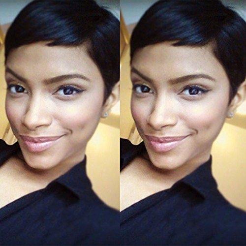 Hotkis Cheveux humains des Perruques pour femme noire Cheveux courts Perruque Pixie avec des Perruques pour femme (Hts701-nc) BLACKPRETTYHAIR