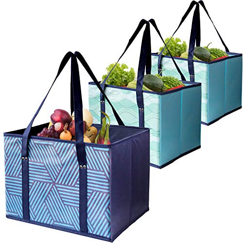 Reusable Shopping Box Grocery Bag,Shopping Tote Bag with Extra Long Handles,Eco-Friendly, Large, Durable, Foldable with…