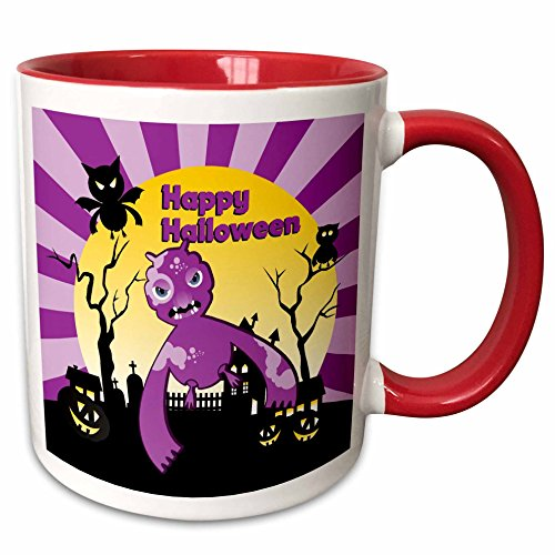 3dRose Belinha Fernandes - Halloween Celebration - Happy Halloween message and violet scary monster at moonlight - 15oz Two-Tone Red Mug -