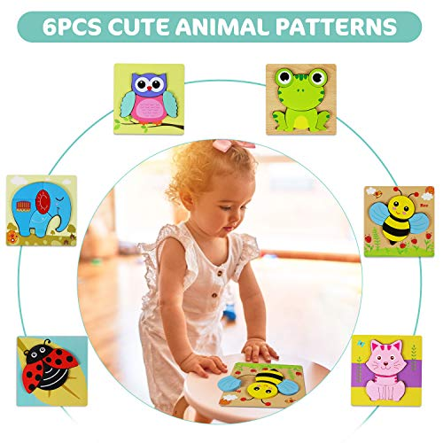 Comken Wooden Puzzles for Toddlers, 6 Pack Animal Jigsaw Puzzles for 1 2 3 Years Old Boys & Girls,Early Learning Preschool Educational Gift,Kids Development Toys