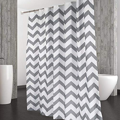 CAROMIO Shower Curtain, Water Repellent Striped Chevron Fabric Shower Curtains for Bathroom Geometric, 72 x 72 inch, Grey and White (Gray Shower Curtain Striped)