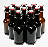 North Mountain Supply 16 oz Glass Grolsch-Style Beer Brewing Fermenting Bottles - With Ceramic Swing Top Caps - Case of 12
