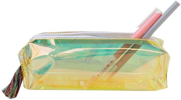 Teepao - Estuche metálico con cremallera para lápices, cosméticos, maquillaje, bolsa de maquillaje, bolsa con cremallera holográfica transparente resistente al agua, suministros escolares, artículos de papelería para regalo: Amazon.es: Hogar