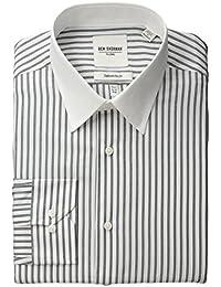 Ben Sherman Men's Slim Fit Dobby Stripe Bankers Collar Dress Shirt