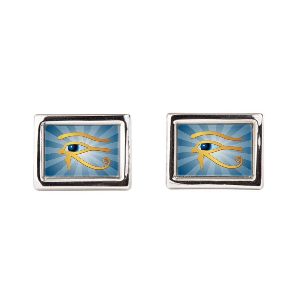 Cufflinks (Rectangular) Egyptian Gold Eye of Horus Royal Lion CUFFLNKRECEGGLDEYOHR-2017SEP