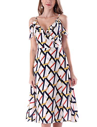 (Noctflos Women's Summer Floral Cold Shoulder Midi Dress for Casual Cocktail Wedding Guest (Large, Geometric Pattern))