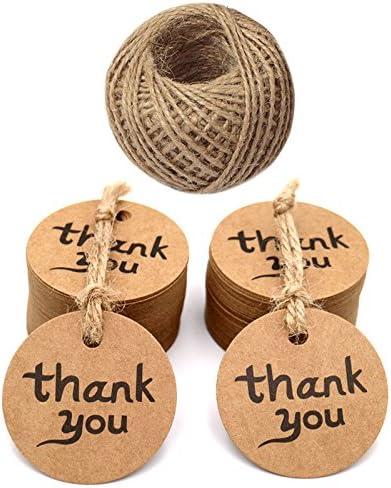 100 pezzi carta kraft etichette regalo Craft Hang Tags Bonbonniere favore etichette regalo con spago di iuta etichetta bagagli Marrone Matrimonio Favore Tag