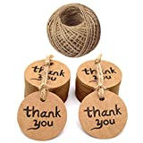 jijAcraft 100 PCS Kraft Paper Tags with Thank You