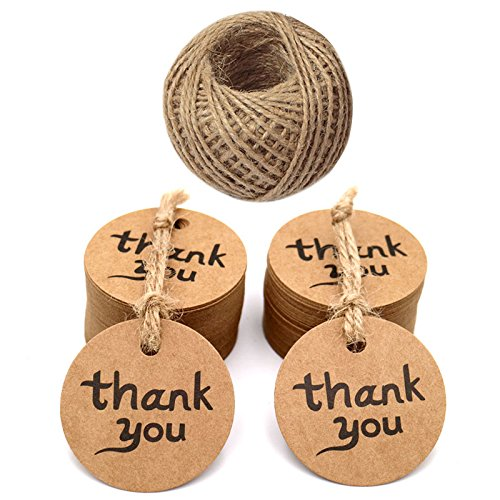 - jijAcraft 100 PCS Gift Tags with Thank You Printed and 100 Feet Jute Twine,Round Kraft Paper Tags,4.3 cm Brown Hang Tags