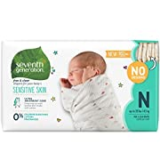 Seventh Generation Baby Diapers for Sensitive Skin, Plain Unprinted, Newborn, 144 Count (Packaging May Vary)