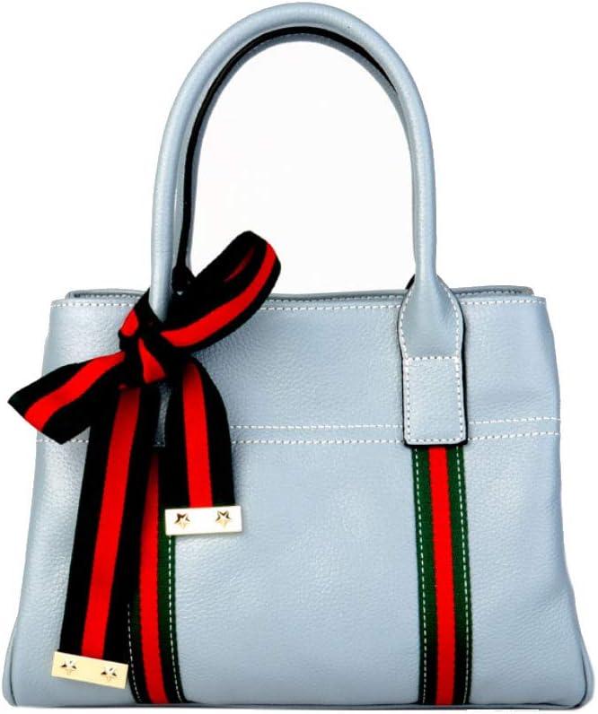 Color : 2 HWX Female Waterproof and Dustproof Leather Bag Bow European and American Simple Fashion Shoulder Bag Handbag
