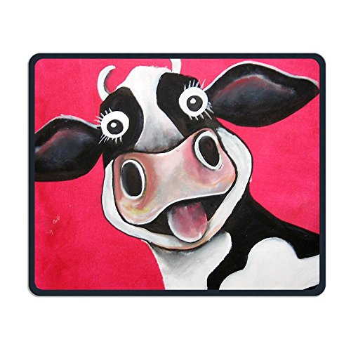 Mouse Pad Unique Custom Printed Mousepad Funny Cow Stitched Edge Non-Slip Rubber 9.8 X11.8 Inch (Custom Mouse Pad Printed)