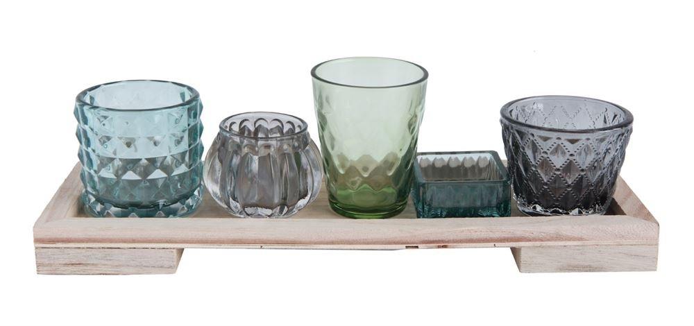 13-1/4''L x 4-1/4''W x 4-1/4''H Wood Tray w/ 5 Glass Votive/Tealight Holders, Boxed Set of 6