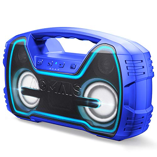 Portable IPX7 Waterproof Bluetooth Speakers, Wireless Home Party Speaker, 25W Rich Bass Impressive Sound, Wireless Stereo Pairing, Built-in Mic, 100ft Bluetooth Range, Durable for Indoor,Outdoor-Blue