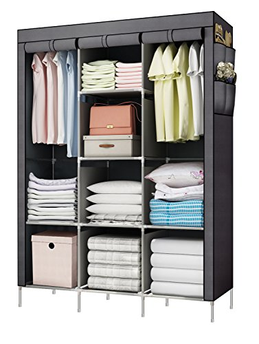YOUUD Fashionable Clothes Closet Portable Wardrobe Storage Organizer with Shelves Multilayer Sturady Durable Construction Stroage Cabinet Gray (Portable Cabinet)