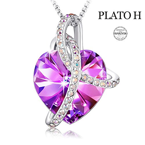 Swarovski Element Necklace Color Changing Crystal Courageous Love Heart Pendant Necklace for Women, Birthday Birthstone Jewelry Gifts for Girl, Amethyst Purple Pink, 18
