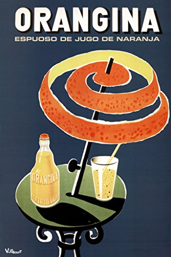 (Bernard Villemot Orangina Vintage Orange Drink Advertising Ad Orange Peel Umbrella Poster 12x18 inch)