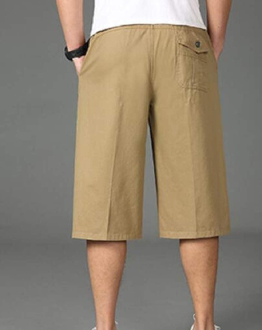Etecredpow Mens Multi-Pockets Casual Elastic Waist Plus Size Outdoor Capri Pants