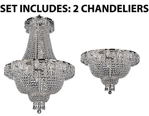 Set of 2 - 1 French Empire Crystal Chandelier Chandeliers Lighting , Silver , H30 X Wd24 and 1 Flush French Empire Crystal Chandelier Chandeliers Lighting , Silver , H19.5 X Wd24