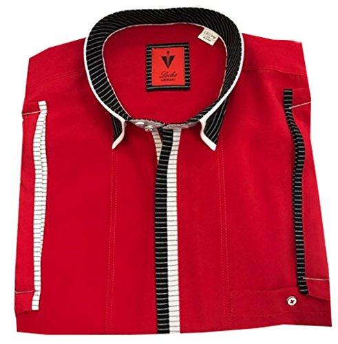 Leché Designerhemd in Rot, kurzarm mit schwarz-weiß gestreifter Knopfleiste