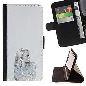 Momo Phone Case / Flip Funda de Cuero Case Cover - Señora Girl Retrato a lápiz de Deep Sad - Samsung Galaxy J1 J100