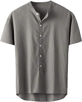 ღLILICATღ Camisas Hombre Manga Larga 2019 Moda Camisa Mezcla de Algodón Hombre Casual Blusa Slim Fit Tops Shirts Cuello en V Tallas Grandes S-4XL: Amazon.es: Deportes y aire libre
