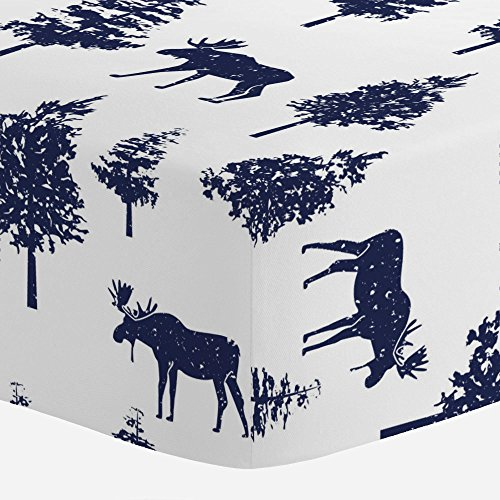 Carousel Designs Navy Moose Crib Sheet - Organic 100% Cotton