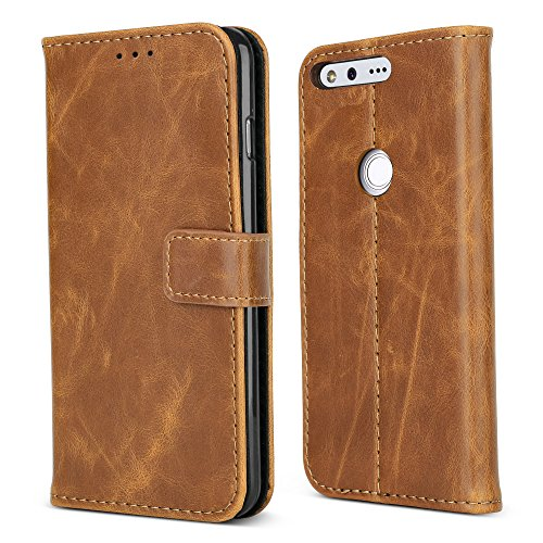 Google Pixel XL Case,B BELK Premium Retro Slim Wallet Case, Vintage Leather Classical Folio Flip Cover with [Magnetic Snap] [TPU Stand Bumper] [3 Card Slots Holder] for Google Pixel XL (5.5 Inch) Buff -