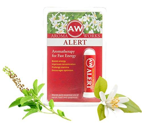 Aromaworks aromathérapie inhalateur de poche alerte (Stimulant naturel): Un Booster d'énergie aromathérapie, moyen naturel pour améliorer la Concentration, la thérapie huile essentielle TDAH, 100 % Pure