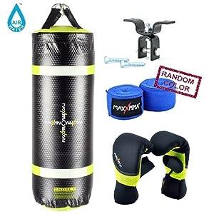 MaxxMMA Water/Air Neon 3 ft. Heavy Bag 70~120 lbs. + Wood Beam Heavy Bag Hanger + Neoprene Gloves + Bamboo Hand Wraps (random color)