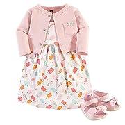 Hudson Baby Girls 3 Piece Dress, Cardigan, Shoe Set, ice Cream, 3-6 Months
