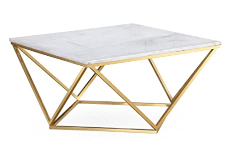Strange Tov Furniture The Leopold Collection Modern Style Marble Top Cocktail Table With Gold Finish Legs White Alphanode Cool Chair Designs And Ideas Alphanodeonline