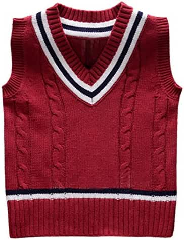 Happy Cherry Kids Cable Knit Pullover Thicken Solid Color V Neck Sweater Vest